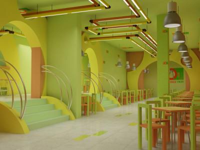 Дизайн интерьера кафе быстрого питания