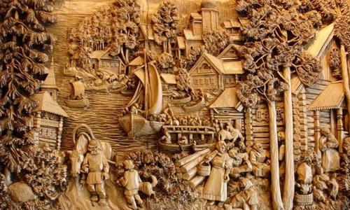 Картина, вырезанная по дереву