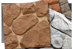 Понадобится подготовить куски искусственного камня и примеры декоративного бетона в виде небольших квадратов