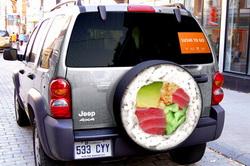 Реклама службы доставки на авто